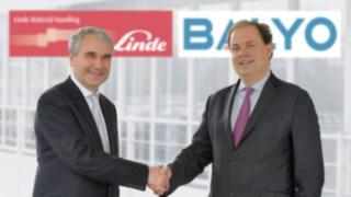 Haben eine strategische Partnerschaft geschlossen: Geschäftsführer Vertrieb, Christophe Lautray, für Linde Material Handling (links) und Geschäftsführer Fabien Bardinet für den Robotik-Spezialisten Balyo.